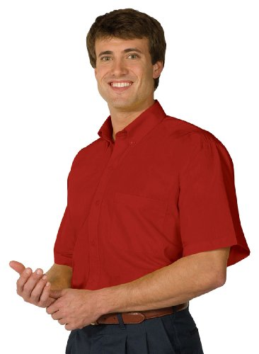 Ed Garments Men's Big And Tall Wrinkle Resistant Poplin Shirt, RED, ()