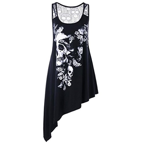 Women Blouse, Limsea Plus Size U Neck Skull Printed Asymmetric Hollow Out Tank Top - Top Circle Print Wrap