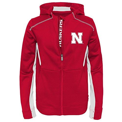 s Youth Boys Hi-Tech Full Zip Hoodie, L(14-16), Dark Red (Nebraska Huskers Sweatshirt)