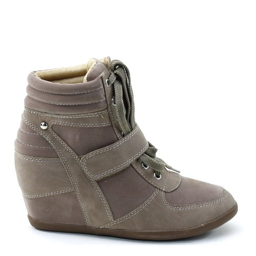 Nouvelle Brieten Womens Lace Up Padding Semelle Talon Carré Mode Sneakers