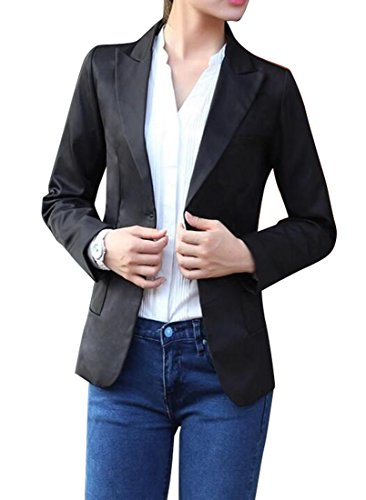 YYG Women Casual Dress Long Sleeve One Button Slim Blazer Jacket Black XL