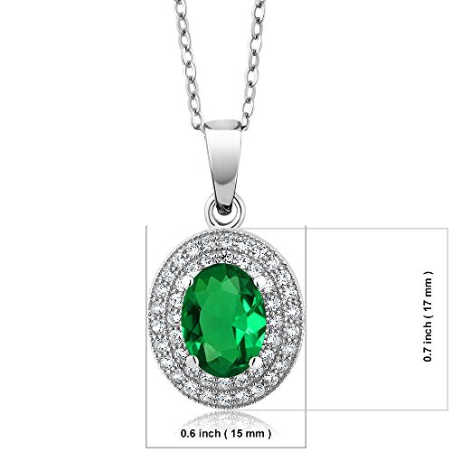 - Gem Stone King 3.11Ct Oval 9x7mm Green Nano Emerald 925 Sterling Silver Pendant with 18inches Chain