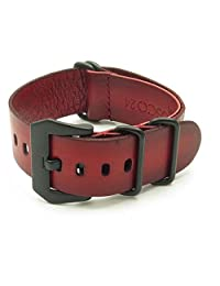 StrapsCo 20mm Red Vintage Nato Zulu G10 Leather Watch Strap with Matte Black Pre-V Buckle