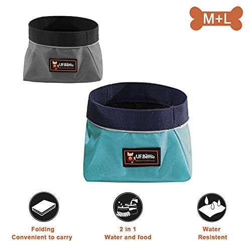 UFBemo Collapsible Dog Bowl - 2 Pack Travel Dog Bowl, Water and Food Bowls for Dogs - Foldable Outdoor Camping Pet Food Water Bowl