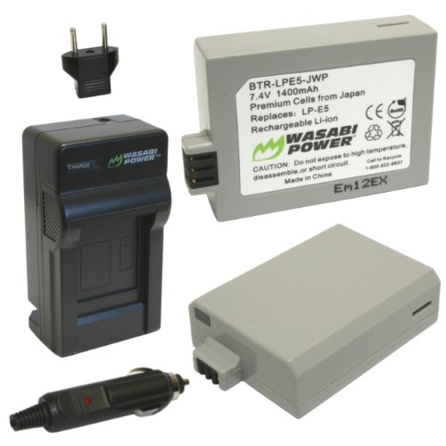 Wasabi Power Battery (2-Pack) and Charger for Canon LP-E5 and Canon EOS 450D, 500D, 1000D, Kiss F, Kiss X2, Kiss X3, Rebel XS, Rebel XSi, Rebel T1i