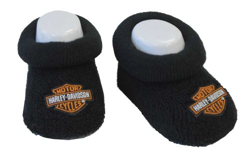 Harley Davidson Kids Bedding - Harley-Davidson Baby Boys' Boxed Stretch Terry Booties, Black S9LBL20HD (0/3M)