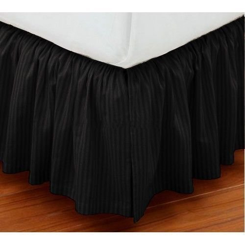 Amazon Luxuries 750TC 1 Piece Split Corner Dust Ruffle Bed Skirt Striped 36 Inch Drop Length 100% Egyptian Cotton All Size & Color (Twin XL 39 ''x 80'', Black)