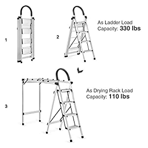 Delxo 2 in 1 Aluminum Lightweight 4 Step Ladder Step Stool Multi-Use Ladder with Foldable Laundry Drying Rack Rust-Proof Ladder 330lbs Capacity Space Saving 4-Feet Black (single side)