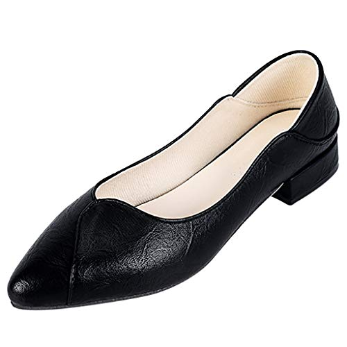 Clearance! Swiusd Womens Pointed Toe Single Shoes Retro Low Heel Shallow Loafers Elegant Leather Slip On Office Work Pumps Shoes (Black, 6 M US)