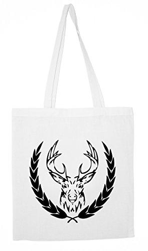 """Jutebeutel """"Elk"""" Baumwolltasche White"""