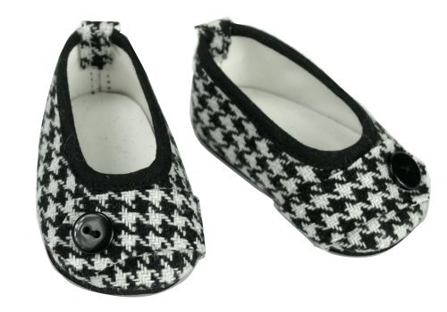 18 Inch Doll Shoes, Hounds-tooth Print Ballet Flat Fits 18 Inch American Girl Dolls, Black & White Hounds-tooth Flats (Black Doll Shoes)