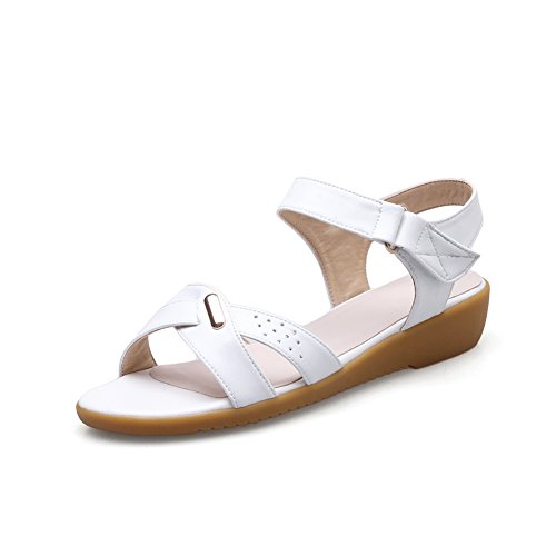 AdeeSu Womens Hook-and-Loop Peep-Toe Hollow Out Pleather Sandals SLC03678 White CbBC8HgwJ3