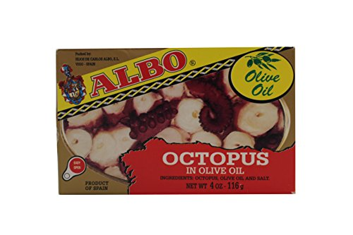 Albo Octopus in Olive Oil, 4 oz Can (Pack of 2) (Albi Fish)