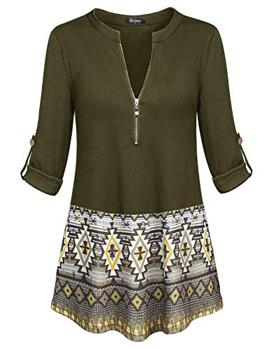 - Quinee Flowy Tops for Women, Ladies Zip V Neck Stitching Spring Long Shirts Maternity Paseant Top Elastic Breathable Casual Henley Shirts Business Fashion Blouses Outfits Navy Green L