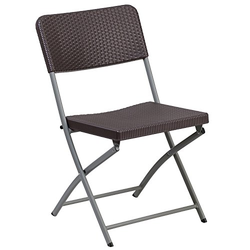 Flash Furniture HERCULES Series Brown Rattan Plastic Folding Chair with Gray Frame by Flash Furniture