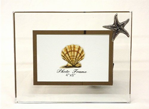 - Glass and Pewter Photo Frame with Starfish - Holds One 4