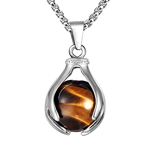 BEADNOVA Healing Natural Brown Tiger Eye Gemstone Necklace Crystal Ball Pendant Necklace with Stainless Steel Chain 18 Inches