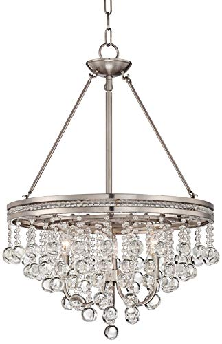 Regina Brushed Nickel 19 Wide Crystal Chandelier – Vienna Full Spectrum