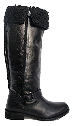 Carvela , was Fell gefüttert Leder Schnalle Stiefel Jet Black