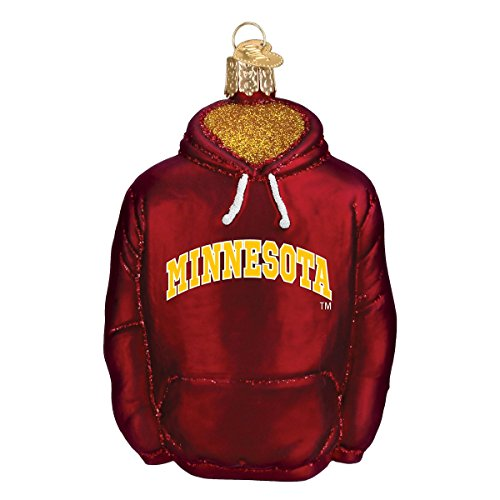 Old World Christmas Glass Blown Ornament with S-Hook and Gift Box, College Hoodie Collection (Minnesota) (Alumni Minnesota Series)