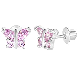 Amazon Com Rhodium Plated Pink Tiny Butterfly Screw Back Earrings
