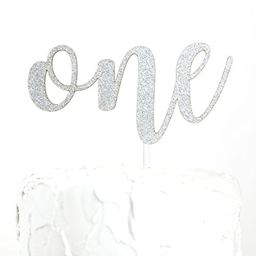NANASUKO 1st Birthday Cake Topper - one - Double Sided Silver Glitter - Premium Quality Made in USA