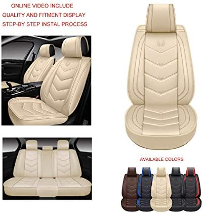 OASIS AUTO OS-003 Leather Car Seat Covers Faux Leatherette Automotive Vehicle Cushion Cover for Cars SUV Pick-up Truck Universal Fit Set for Auto Interior Accessories (Eagle Beige Full Set)