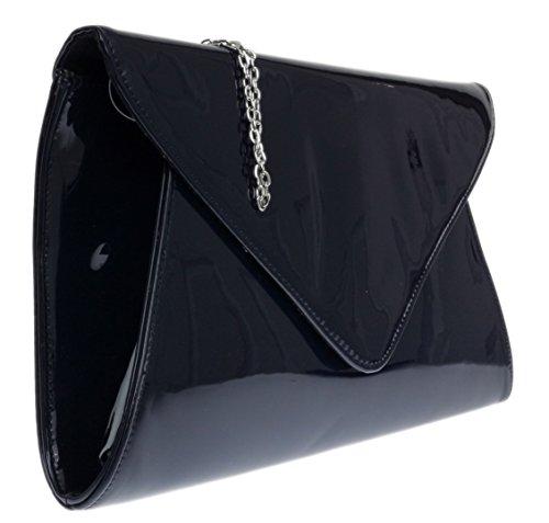 Diseñador Blanco Cuero En Sobre Bolso Señoras Marino Imitación De Femenino Azul Bolsos De Patente Noche De qfFUE