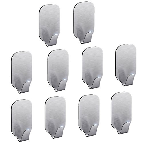 3M Self Adhesive Hooks for Bathroom Kitchen Bedroom Wall Towel Clothes Keys Hooks Organizer Holder,Brushed Finish Stainless Steel,Strong & Durable (Pack of 10)