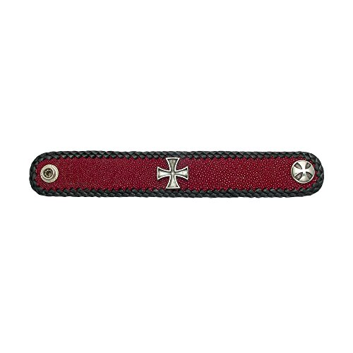 And Arm Escutcheon Victorian - Wild Things Red Stingray Leather Bracelet w/Black Cowhide Lacing & a Sterling Silver Pattee Cross Escutcheon