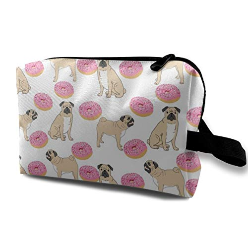 Cosmetic bag for purse,Pug Donuts White Doughnut Donut Sweet Treat Junk Food Pug Dog Pet Portrait_4522,Oxford cloth Colourful Bag Mini Travel - Oxford Portraits