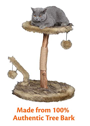 Pet Control HQ Cat Tree Condo 24 Inch Scratcher Post Pet Bed Furniture, Authentic Tree Bark with Activity House w…