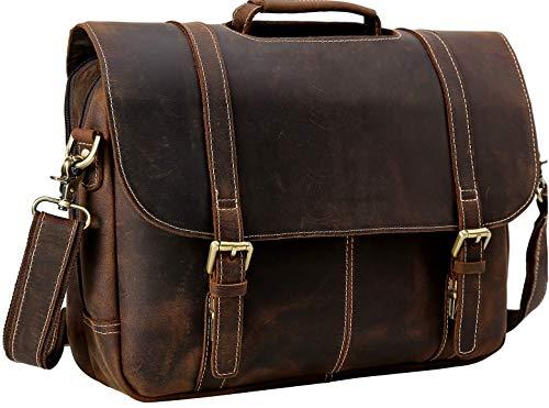 "Over Bag Portfolio Flap - Iswee Men Vintage Thick Leather Flap 15.6"" Laptop Messenger Bag Computer Portfolio Business Briefcase (Dark Brown)"