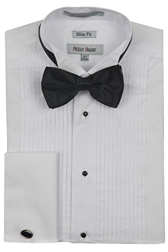 Adam Baker Men's 1923 Slim Fit Wingtip Collar French Cuff Tuxedo Shirt - White - 14.5 ()