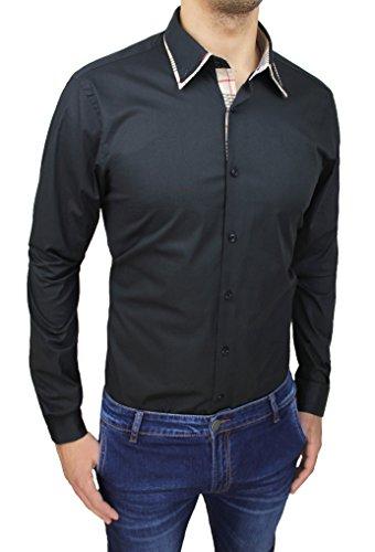 Mat Sartoriale Herren Blusen Freizeit-Hemd schwarz schwarz Small