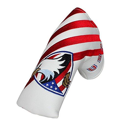 狼上院議員粒子USA Flag & Eagle磁気ゴルフブレードパターヘッドカバー