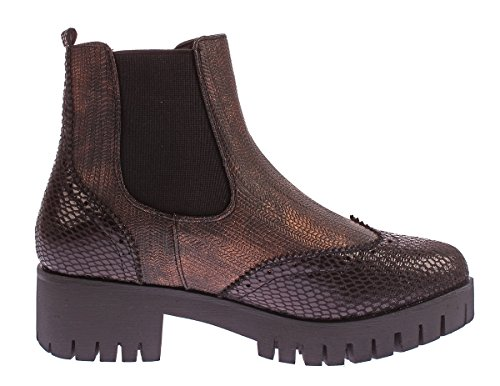 Scandi Damen Stiefeletten Block Absatz Metallic Look Boots Knöchel Schuhe Reptil Optik Gummizug Gr. 36-41 Schwarz