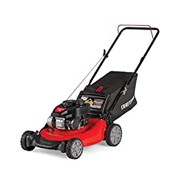 Craftsman M105 140cc 21-Inch 3-in-1 Gas Powered Push Lawn Mower with Bagger 46 140CC OHV GAS POWERED ENGINE: Engine comes equipped with recoil and auto choke. No more fussing with a primer or choke - just pull to start! 3-IN-1 CAPABILITIES: Unit has side discharge, rear discharge, and mulching capabilities. 21-INCH CUTTING DECK: Efficient cutting deck helps trim grass in one quick pass for an easier yard job.