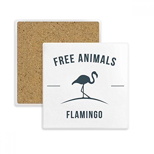 (Cartoon Flamingo Animal Blue Silhouette Square Coaster Cup Mug Holder Absorbent Stone for Drinks 2pcs Gift)