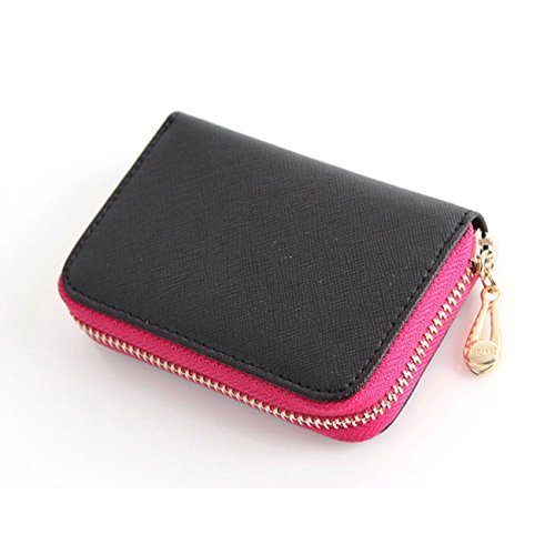 Leather Accordion Zipper Name Card Wallet Useful Credit Card Wallets Small Purse (Black)