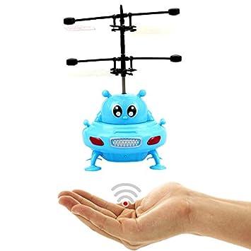 fliegendes UFO (Azul) – alien – con brillantes LED luces.Fácil controlar con