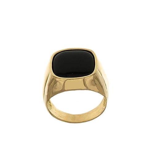 eb5073940775 Anillo de Oro Amarillo De CT 750 1000 con Piedra negra para hombre   Amazon.es  Joyería