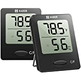 Habor Thermometer (2 Pack) Meter Temperature Humidity Monitor Gauge for Humidifier Dehumidifier Air Conditioner Room Greenhouse Basement Nursery