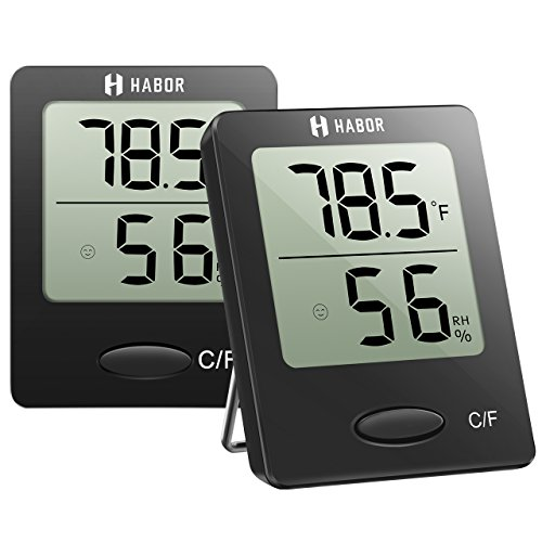 Habor Digital Hygrometer Indoor Thermometer (2 Pack) Humidity Meter Temperature Humidity Monitor Temperature Humidity Gauge for Humidifier Dehumidifier Air Conditioner Room Greenhouse Basement Nursery