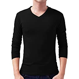 Colyanda Men\'s Basic Solid V-neck Cotton Long-Sleeve Top(Black L)