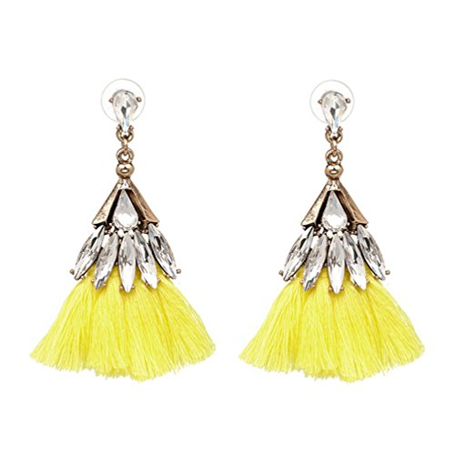 Lady Beauty Ornament Makeup (Haotfire Women Thread Tassel Dangle Earrings Silk Fringe Thread Drop Earrings For Parties)