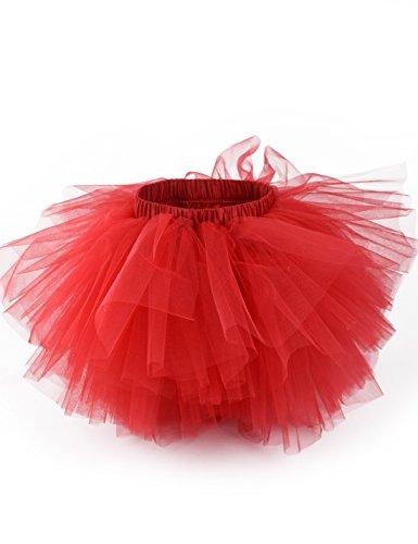 Girl's 6-Layered Tutu Skirt Ballet Fluffy Tulle Little Princess Dancing Petticoat Ballerina Skirt Red L -