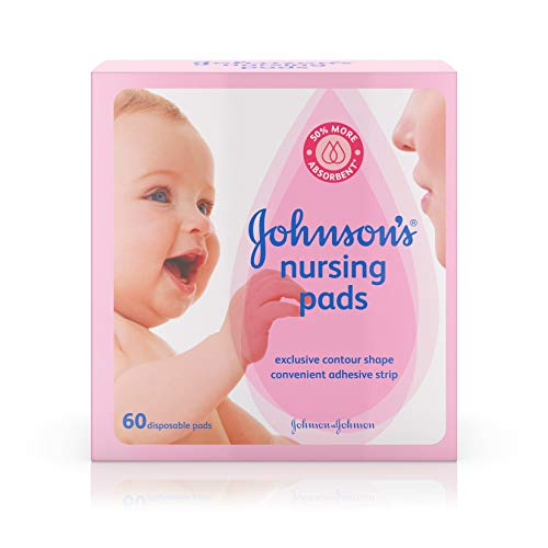 Johnson's Disposable Nursing Pads with Natural Cotton and Natural Contour Shape, 60 ct (Packaging May Vary)
