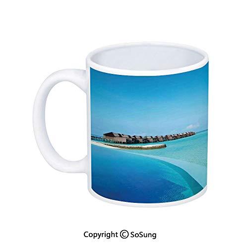 House Decor Coffee Mug,Infinity Pool in the Maldives Bungalows Horizon Ocean Tropics Sky Honeymoon,Printed Ceramic Coffee Cup Water Tea Drinks Cup,
