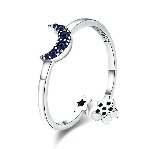 (ZhongYi Simple Sterling Silver Zircon Starburst Moon Open Ring)
